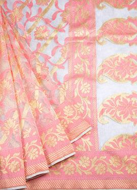 Light Grey N Peach Pure Handloom Cotton Saree