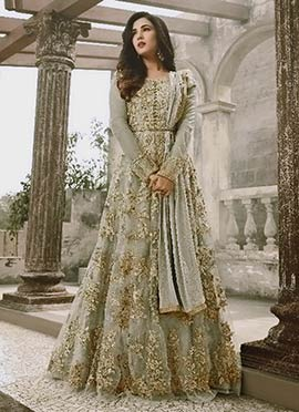 Light Grey Net Abaya Style Anarkali Suit