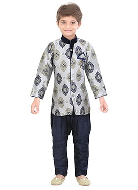 Light Grey Silk Blend Kids Sherwani