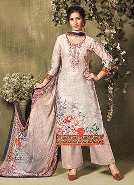 Light Lavender Cotton Palazzo Suit