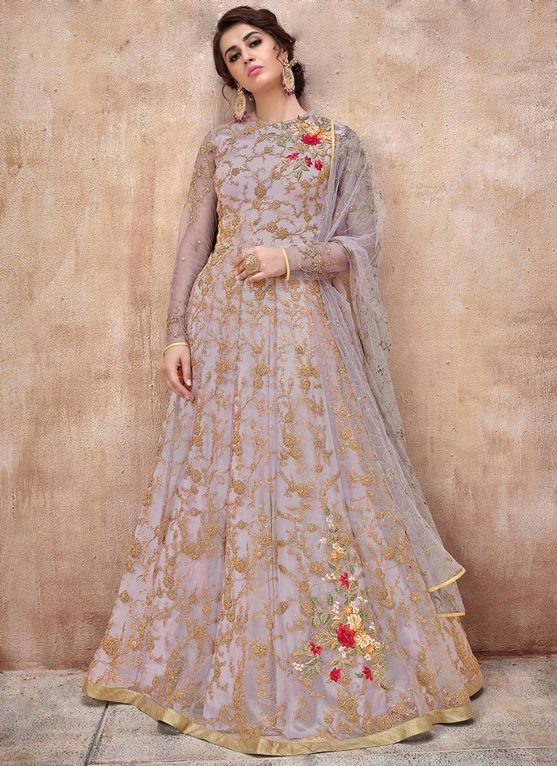 517cbaf36a Buy Light Lavender Embroidered Abaya Style Anarkali Suit ...