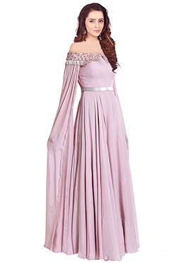 Light Lavender Georgette Anarkali Gown