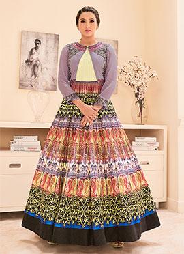 Light Lavender N Multicolored Anarkali Suit