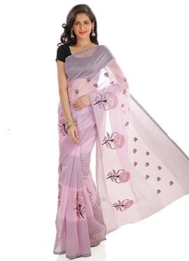 Light Lavender Supernet Embroidered Saree