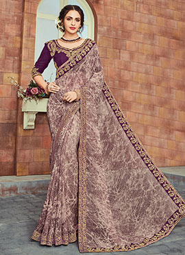 Light Mauve Georgette Border Saree