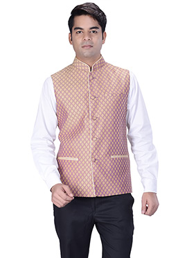 Light Mauve Jacquard Nehru Jacket