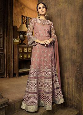 Light Mauve Net Abaya Style Anarkali Suit