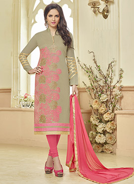 Light Olive Green Blended Cotton Straight Suit