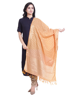 Light Orange Art Benarasi Silk Dupatta