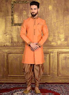 Light Orange Art Benarasi Silk Indowestern Sherwani