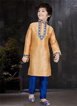 Light Orange Art Benarasi Silk Kids Kurta Pyjama