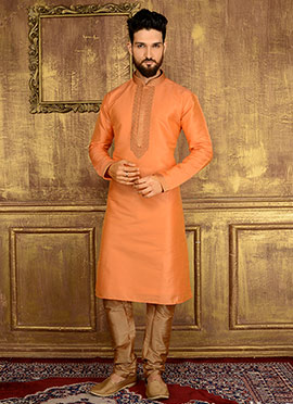 Light Orange Art Benarasi Silk Kurta Pyjama