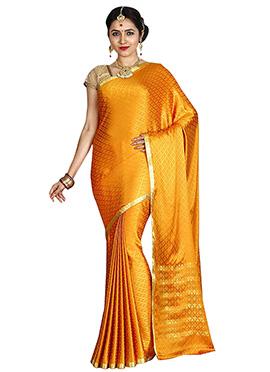 Light Orange Art Mysore Crepe Silk Saree