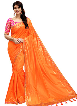 Light Orange Art Silk Border Saree
