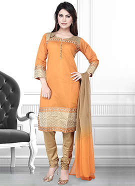 Light Orange Art Silk Churidar Suit