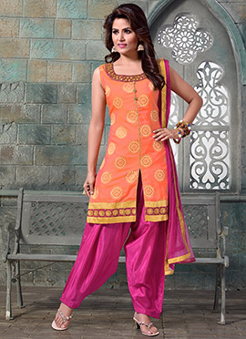 Light Orange Art Silk Salwar Suit