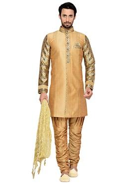Light Orange Breeches Style Indowestern Sherwani
