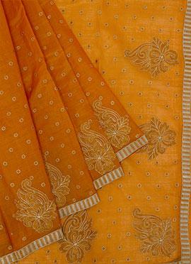 Light Orange Chanderi Saree