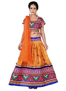 Light Orange Cotton Chaniya Choli Lehenga