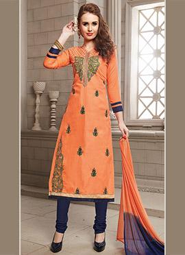 Light Orange Cotton Churidar Suit