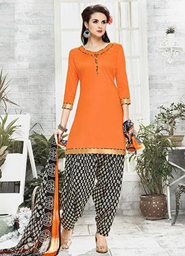 Light Orange Cotton Patiala suit