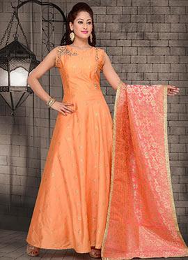 Light Orange Embroidered Abaya Style Anarkali Suit