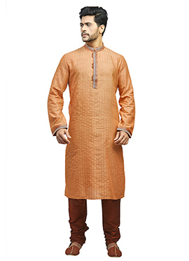 Light Orange Embroidered Kurta Pyjama