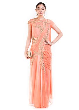 Light Orange Georgette Saree Gown