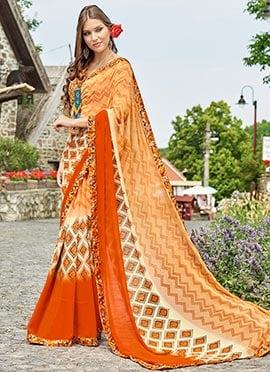 Light Orange Georgette Saree