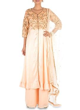 Light Orange Georgette Satin Palazzo Suit