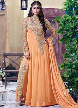 Light Orange Gerogette Anarkali Suit