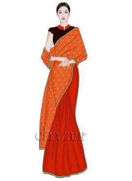 Light Orange Half N Half Art silk Saree