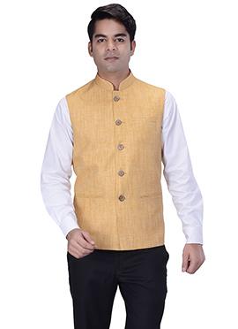 Light Orange Jute Silk Nehru Jacket