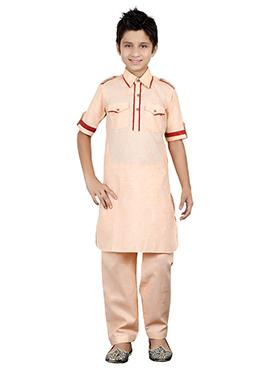 Light Orange Kids Kurta Pyjama