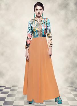 Light Orange N Blue Digital Printed Anarkali Gown
