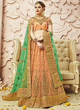 Light Orange Net A Line Lehenga