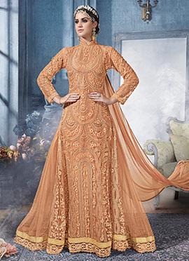Light Orange Net Abaya Style Anarkali Suit