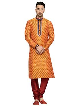 Light Orange Printed Art Dupion Silk Kurta Pyjama
