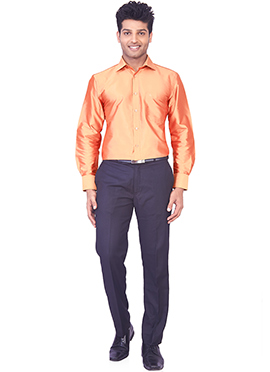 Light Orange Pure Silk Classic Shirt