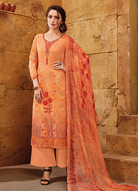 Light Orange Satin Palazzo Suit