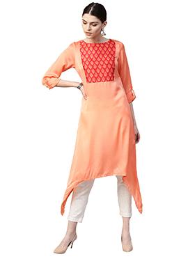 Light Orange Satin Straight Pant Set