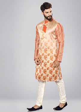 Light Peach Art Dupion Silk Kurta Pyjama