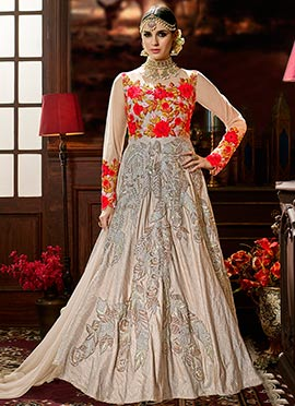 Light Peach Art Silk Anarkali Suit