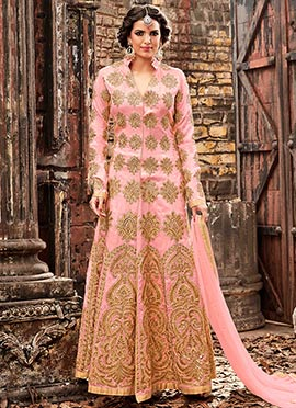 Light Peach Art Silk Center Slit Anarkali Suit