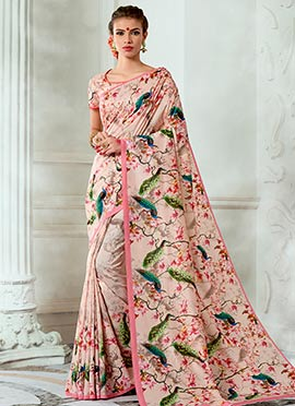 Light Peach Art Tussar Silk Saree