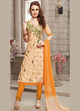 Light Peach Cotton Churidar Suit