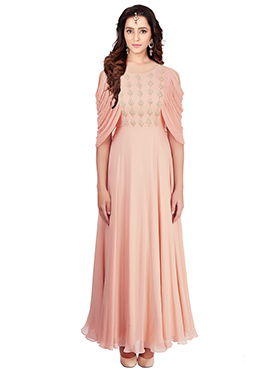 Light Peach Crepe Gown