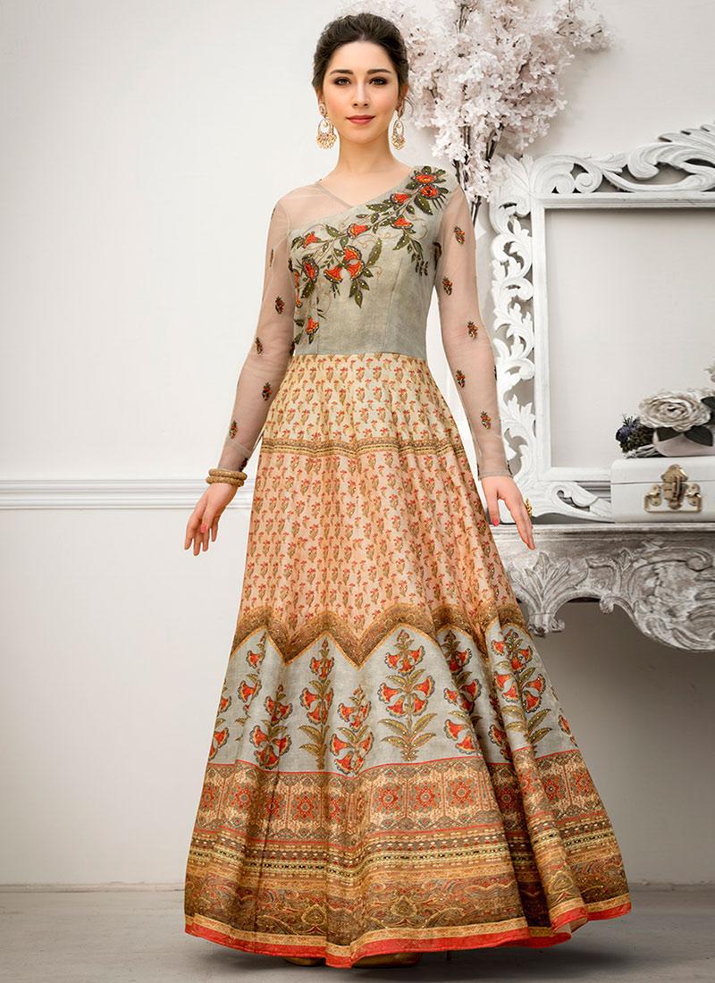 Light Peach Digital Printed Anarkali Gown