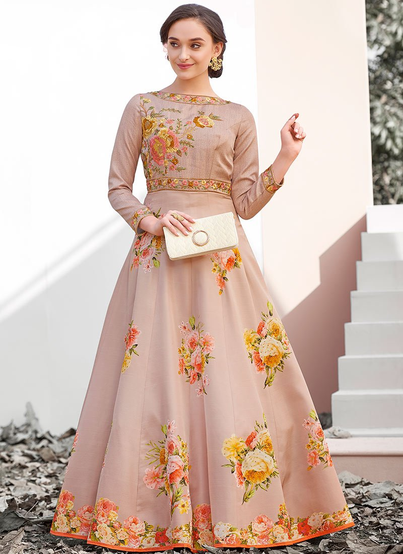 Buy Light Peach Digital Printed Gown, Embroidered , Digital Print ...