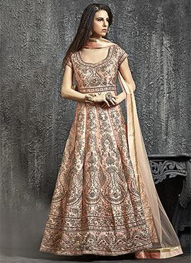 Light Peach Dupion Silk Anarkali Gown